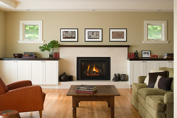 Doyle living room and fireplace