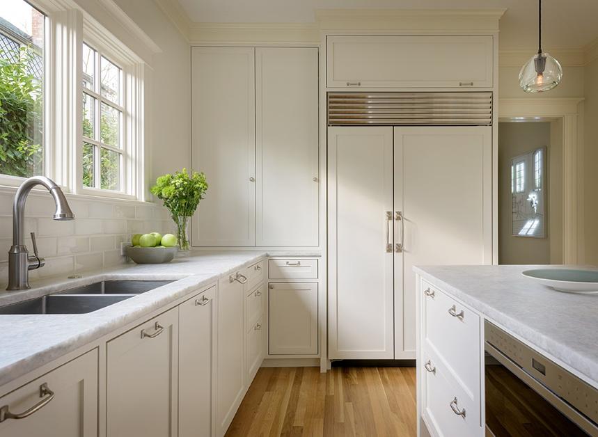 Kitchen sink, counter and refrigerator